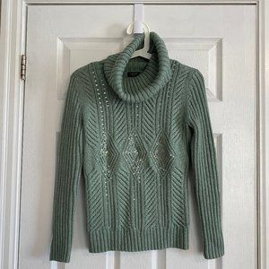 Talbots Mint Green Wool-Blend Turtleneck Sweater